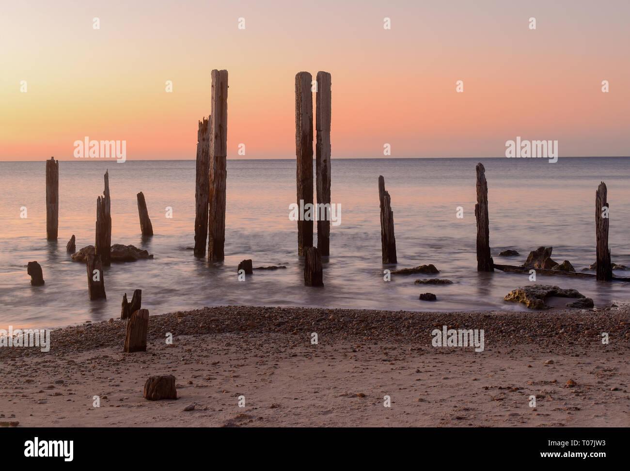 Port Willunga in South Australia at sunset - Stock Image