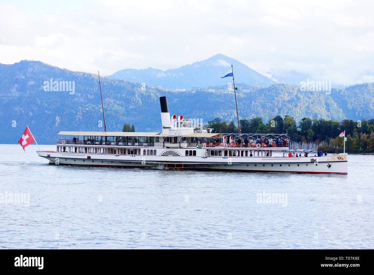 Steam ferry Lake Lucerne Switzerland - Stock Image