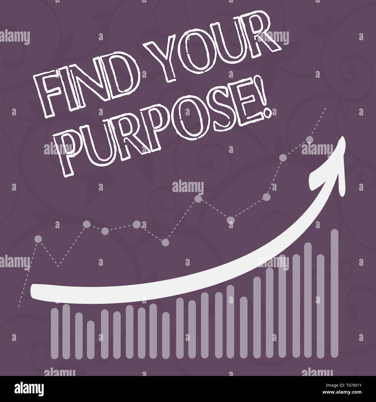 Word writing text Find Your Purpose. Business photo showcasing reason for something is done or for which still exists Combination of Colorful Column a - Stock Image
