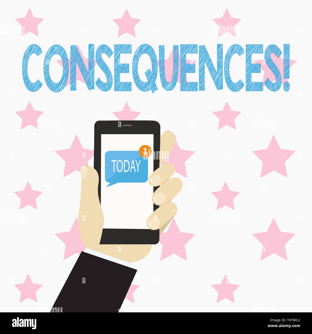 Text sign showing Consequences. Business photo text Result Outcome Output Upshot Difficulty Ramification Conclusion Human Hand Holding Smartphone with - Stock Image