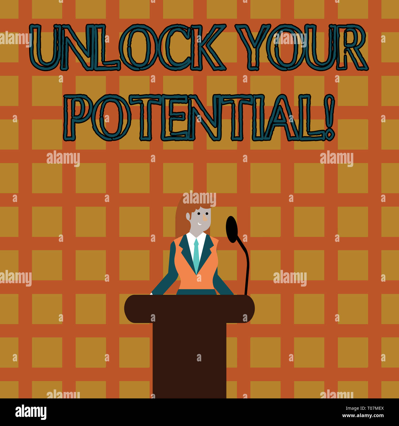 Text sign showing Unlock Your Potential. Business photo text release possibilities Education and training is key Businesswoman Standing Behind Podium  - Stock Image