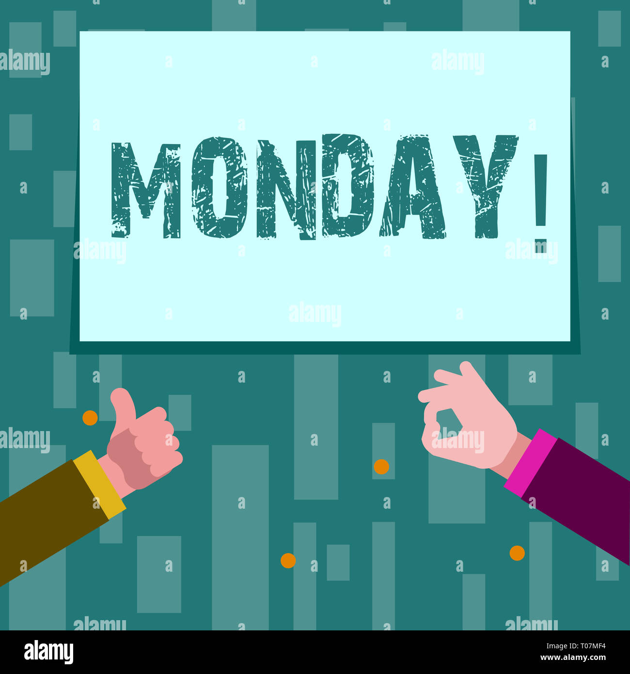 Writing note showing Monday. Business concept for First day of the week Back to work Weekend is over Wakeup Early Two Businessmen Hands Gesturing the  - Stock Image