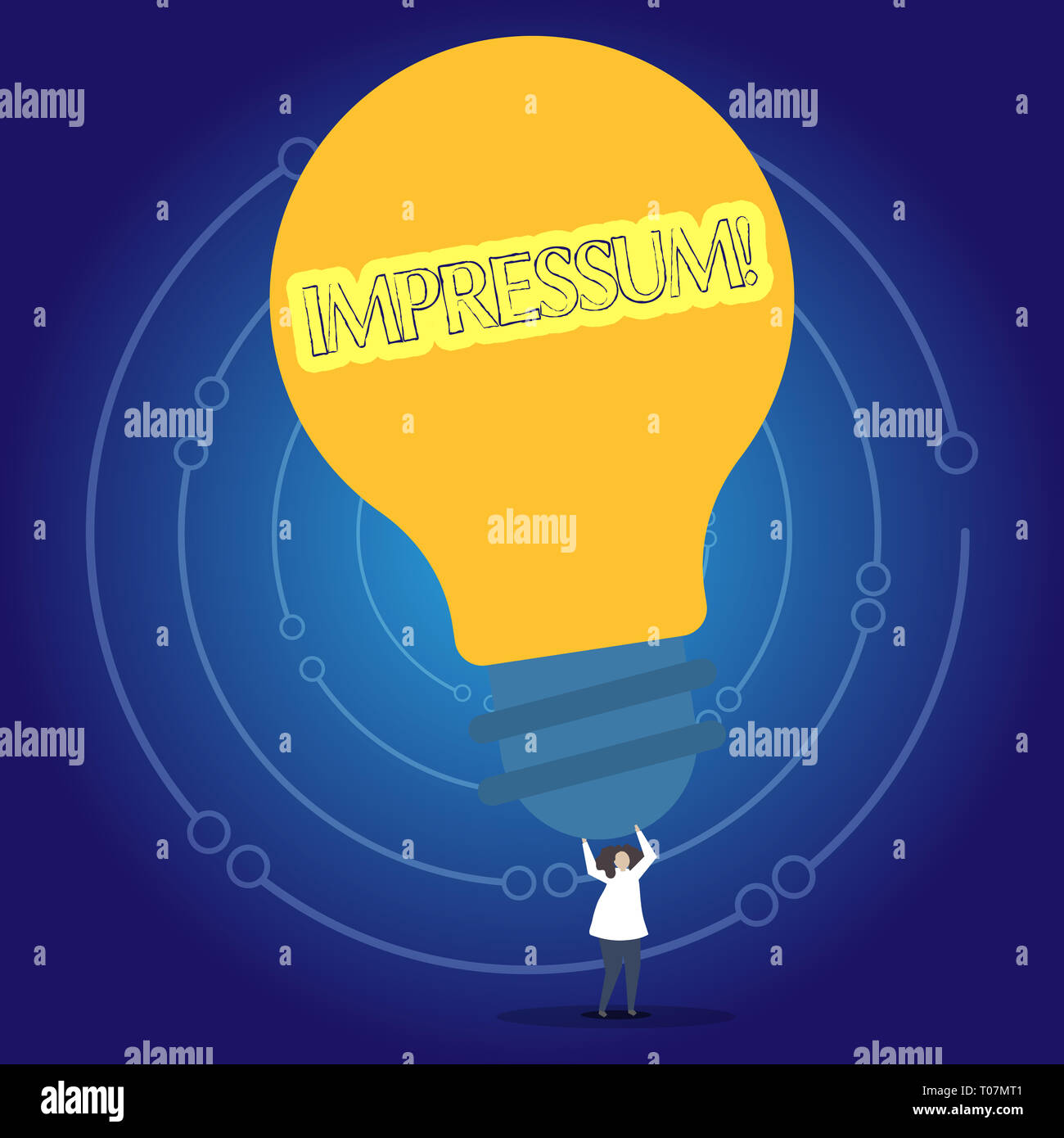 Conceptual hand writing showing Impressum. Concept meaning Impressed Engraved Imprint Geranalysis statement ownership authorship Person Standing Arms  - Stock Image