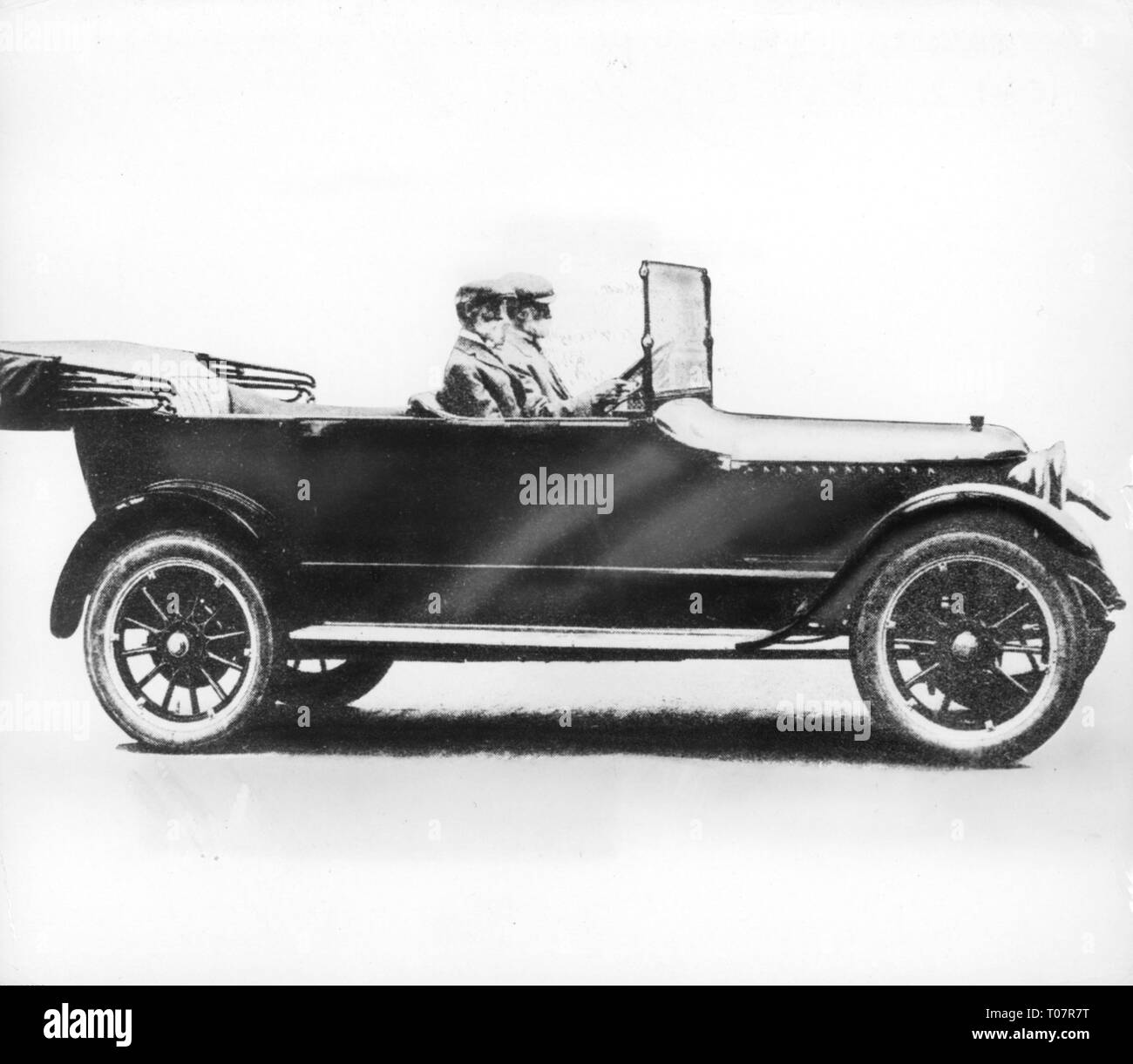 transport / transportation, car, vehicle variants, Stanley Steamer Model 730 Touring, view from right, in the steam car the brothers Francis E. Stanley and Freelan O. Stanley, 1917, Additional-Rights-Clearance-Info-Not-Available - Stock Image