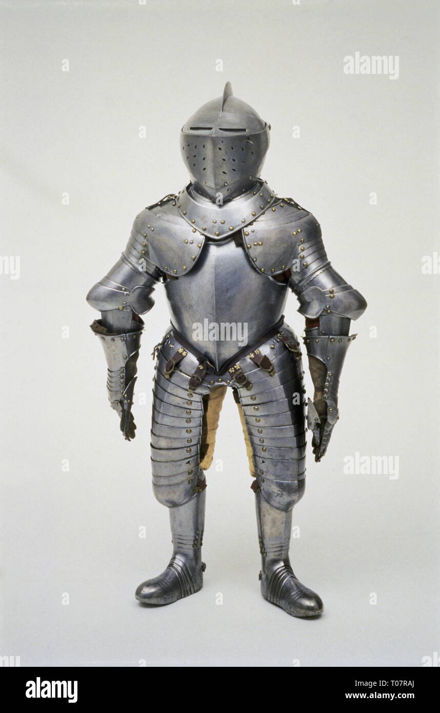 weapons, suit of armour, armour suit for the court dwarf Ruppert of the duke Johann Casimir of House of Saxe- Coburg and Gotha, sheet steel, later 16th century, Additional-Rights-Clearance-Info-Not-Available - Stock Image