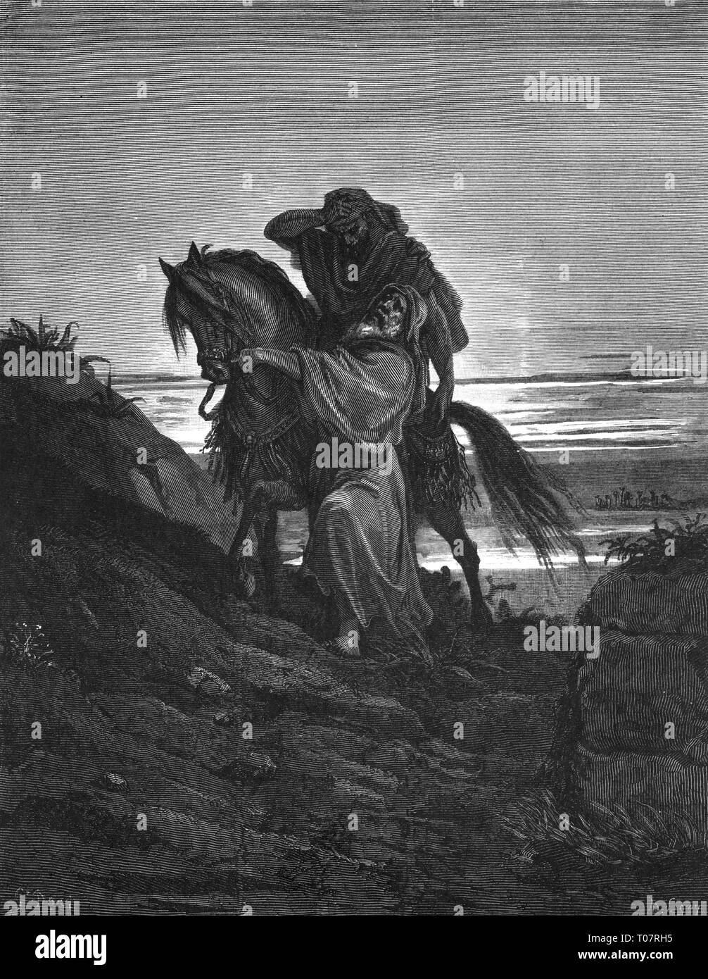 religion, Christianity, Jesus Christ, parable, the merciful Samaritan, wood engraving by Gustav Dore (1832 - 1883), Tours, 1866, Artist's Copyright has not to be cleared - Stock Image