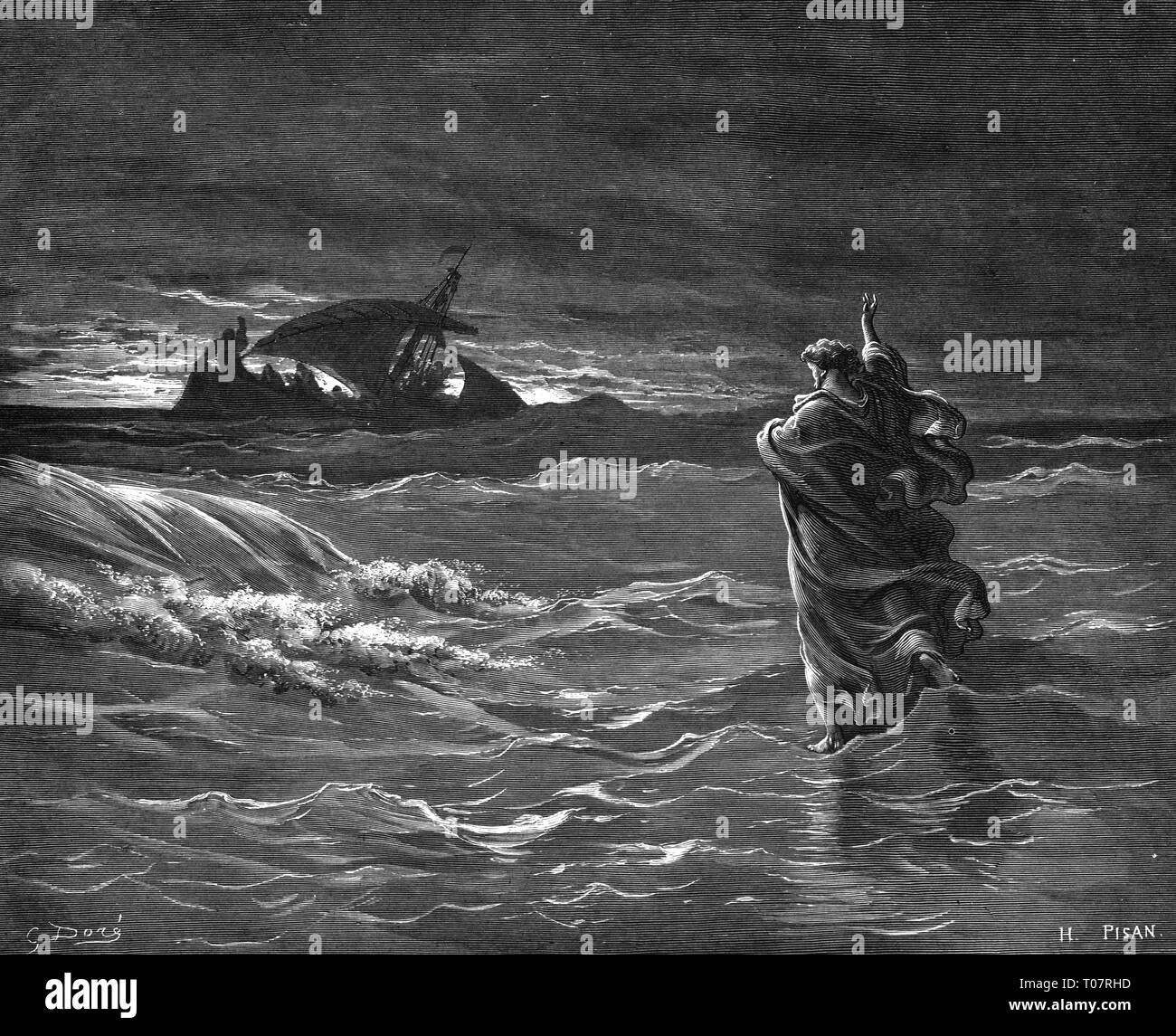 religion, Christianity, Jesus Christ, scenes of his life, Jesus on the sea, wood engraving by Gustav Dore (1832 - 1883), Tours, 1866, Artist's Copyright has not to be cleared - Stock Image