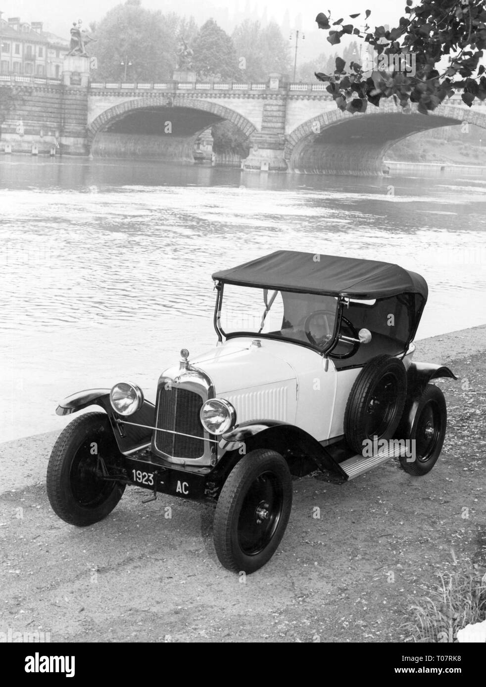 transport / transportation, car, vehicle variants, Citroen type C (5 CV), year of construction: 1923, view from left ahead, Torino, Italy, 1960s, Additional-Rights-Clearance-Info-Not-Available - Stock Image