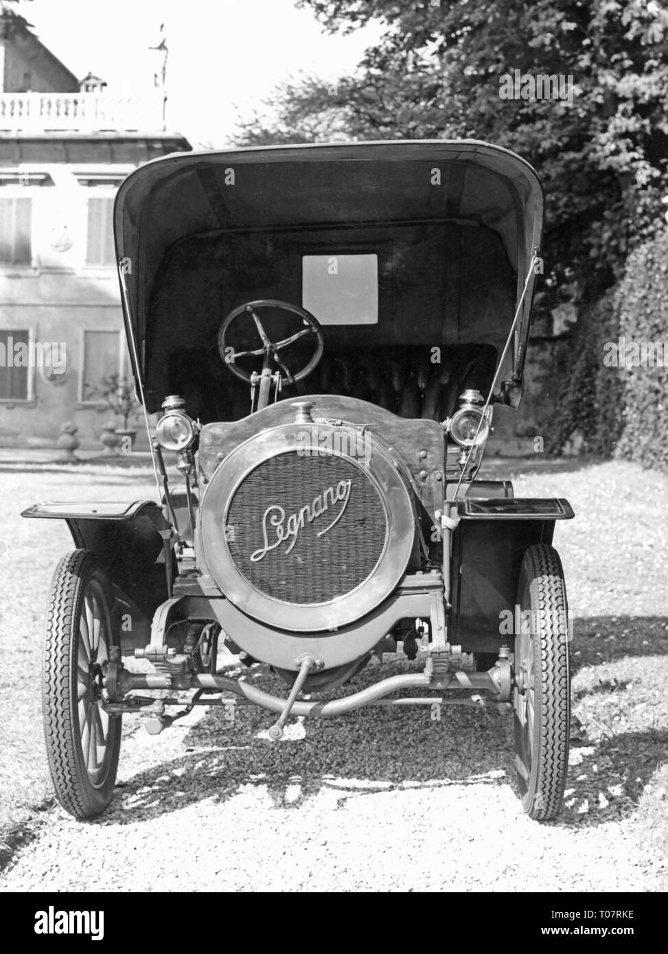 transport / transportation, car, vehicle variants, Legnano A 6/8 HP, year of construction: 1908, view from ahead, automobile museum Torino, Italy, 1960s, Additional-Rights-Clearance-Info-Not-Available - Stock Image