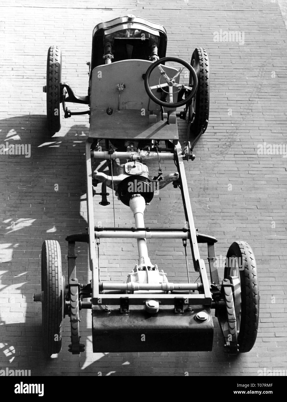 transport / transportation, car, vehicle variants, De Dion-Bouton DM, year of construction: 1911, chassis, view from above, automobile museum Torino, Italy, 1960s, Additional-Rights-Clearance-Info-Not-Available - Stock Image