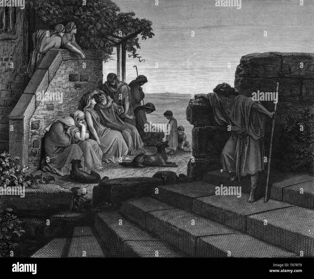 religion, Christianity, Jesus Christ, parable, the return of the prodigal son, wood engraving by Gustav Dore (1832 - 1883), Tours, 1866, Artist's Copyright has not to be cleared - Stock Image