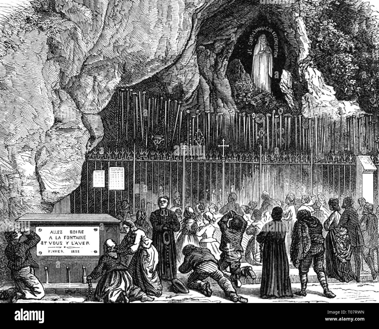 religion, Christianity, pilgrimage, Lourdes, prayers in front of the grotto in front with the Madonna, wood engraving, second half 19th century, Additional-Rights-Clearance-Info-Not-Available - Stock Image