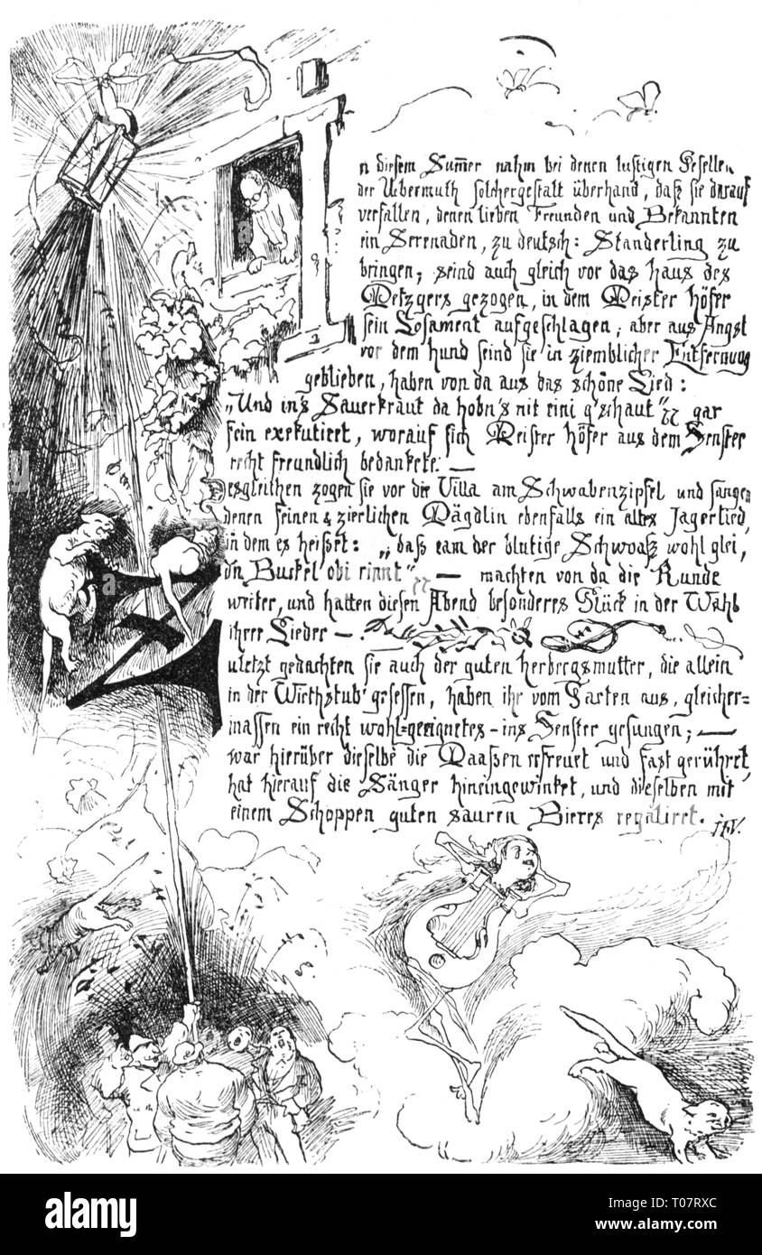 writing, script, latin cursive handwriting, 'Serenade', pen drawing by Ferdinand Barth, from the artist chronicles of Frauenchiemsee, wood engraving, 1888, Artist's Copyright has not to be cleared - Stock Image