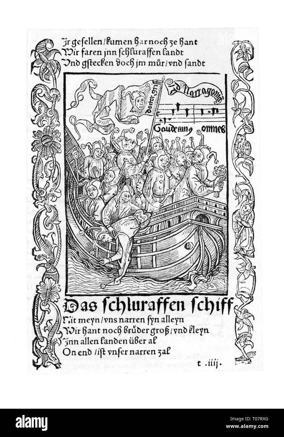 literature, 'Ship of Fools', by Sebastian Brant, woodcut, 'The Cuckoo Ship', first edition, printed by Johann Bergmann von Olpe, Basel, 1494, Additional-Rights-Clearance-Info-Not-Available - Stock Image