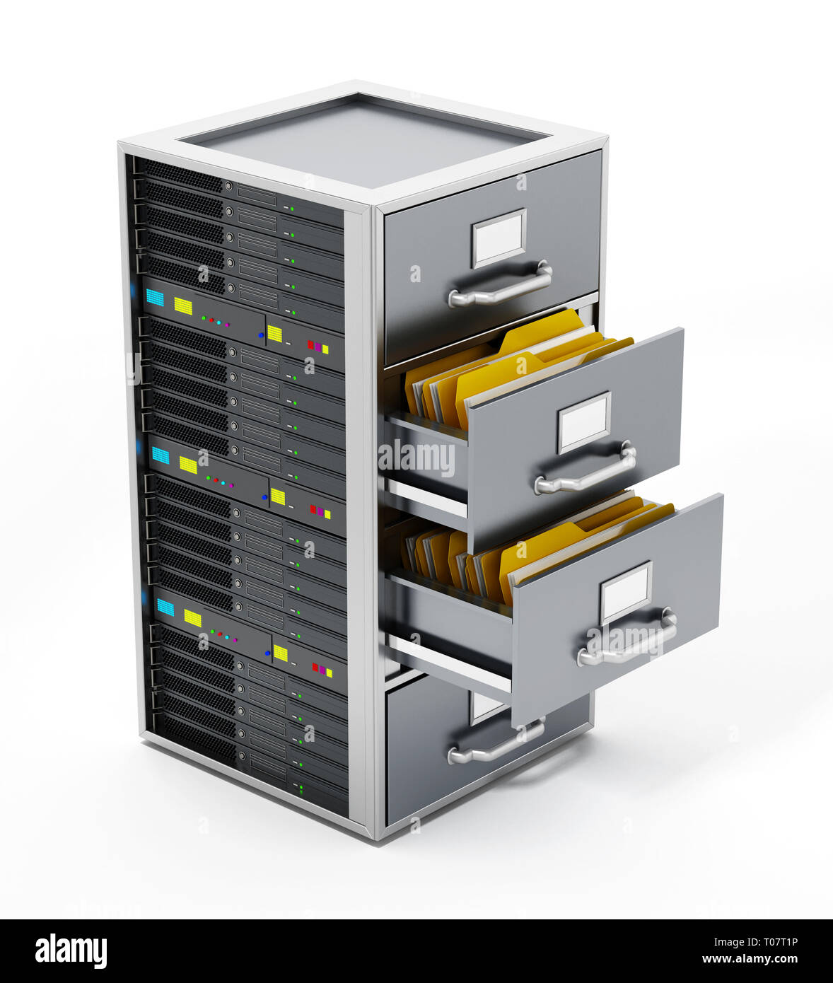 File cabinet combined with network server. 3D illustration. - Stock Image