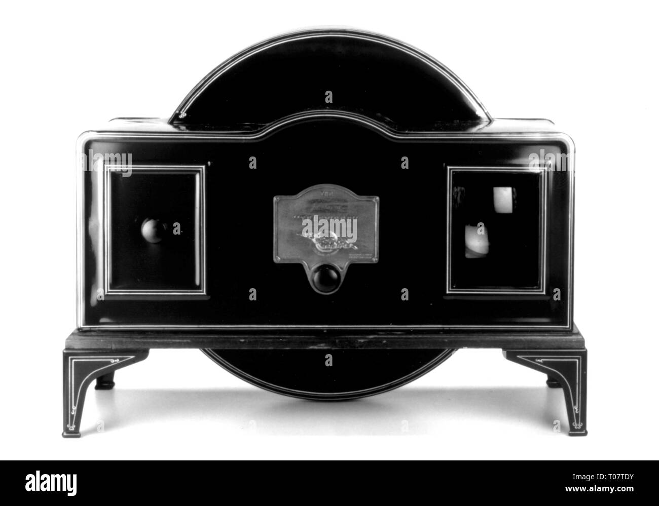 broadcast, television set, Baird Televisor, television set with Nipkow disk, Plessey Company, Ilford, England, 1929, Additional-Rights-Clearance-Info-Not-Available - Stock Image