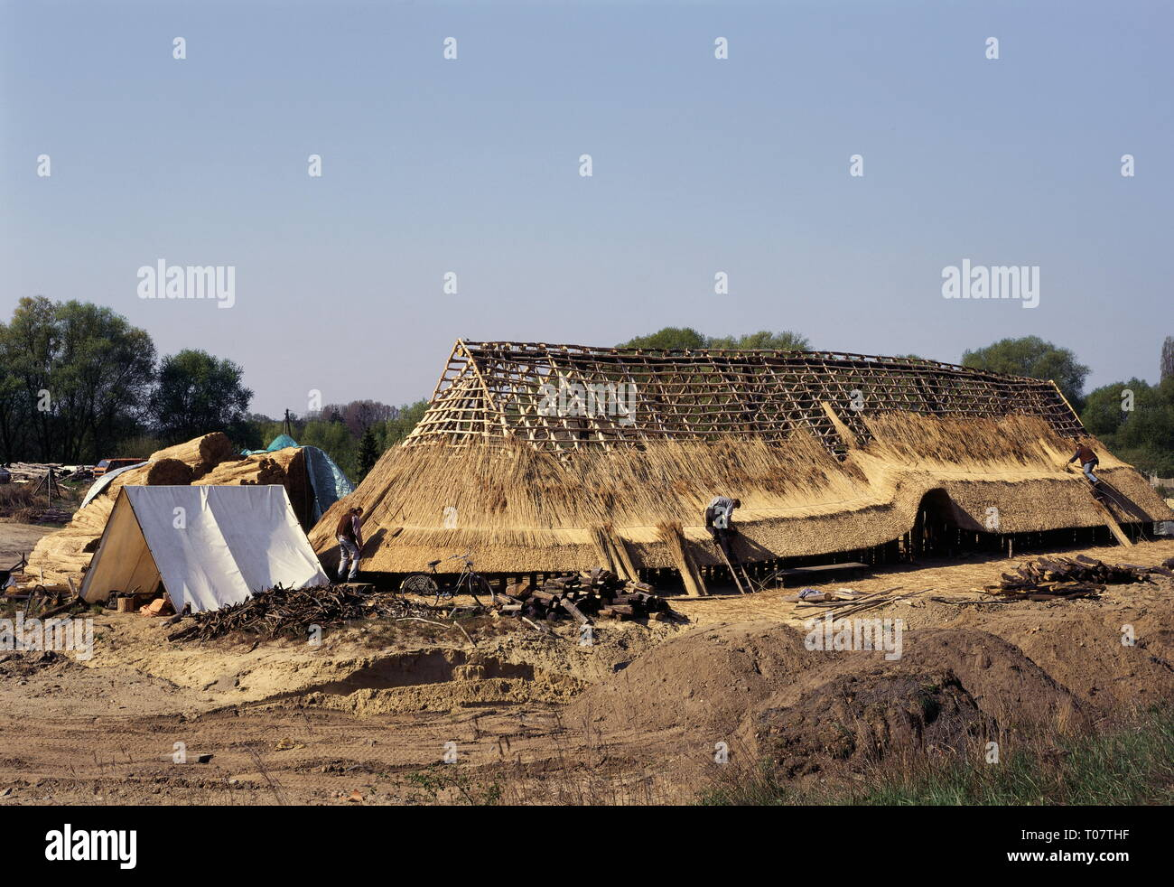 prehistory, architecture, longhouse of the Bronze Age, reconstructed building on the former settlement near Hitzacker, Lower Saxony, GER, Additional-Rights-Clearance-Info-Not-Available - Stock Image