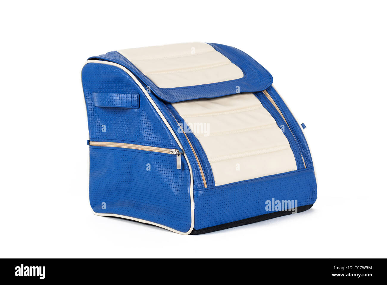 Blue-white leather bag for storing things and traveling in the trunk of a car on a white isolated background. Luggage, handmade suitcase - Stock Image