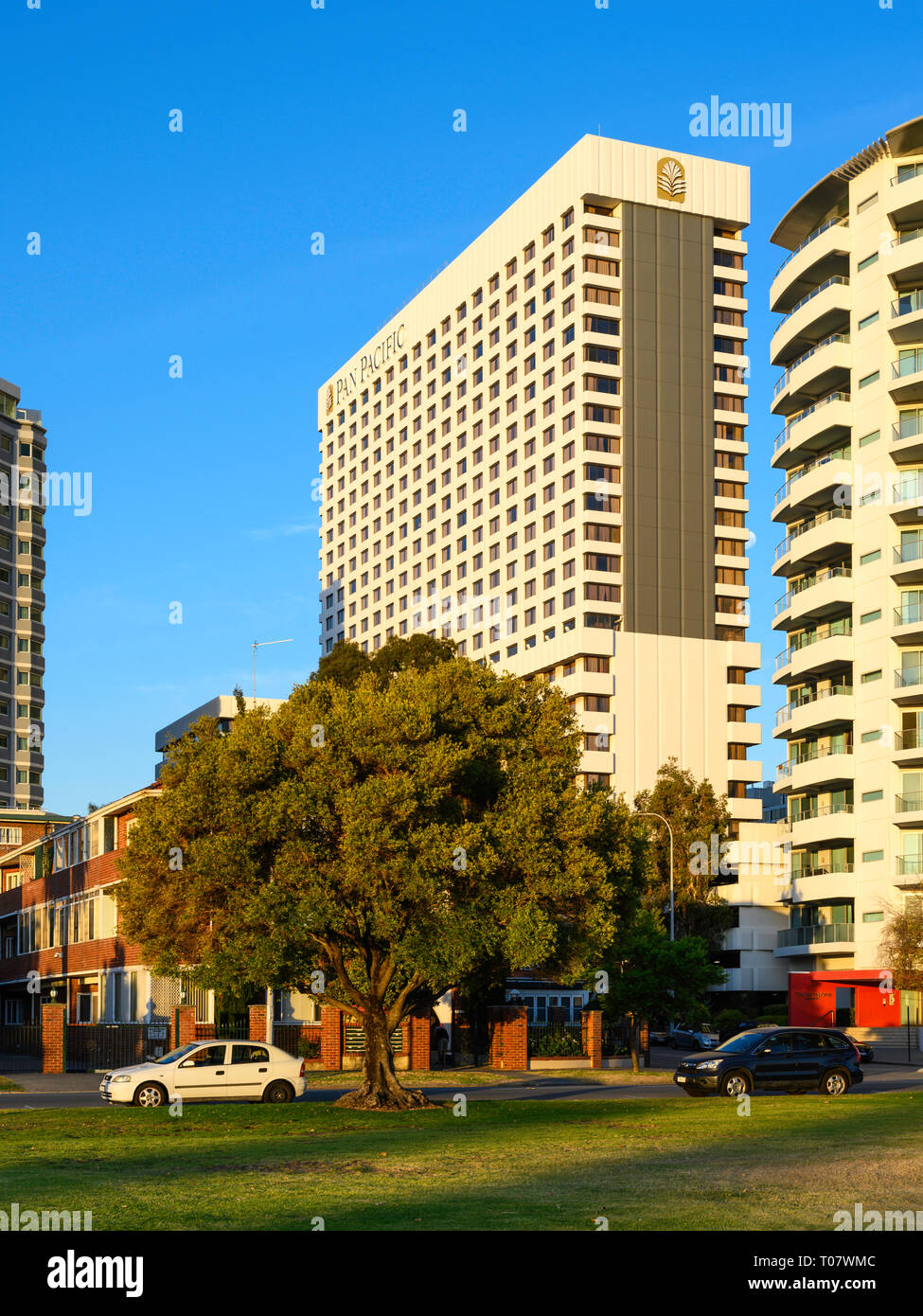 The Pan Pacific Hotel, Perth, Western Australia, seen from Langley Park, Perth. Stock Photo