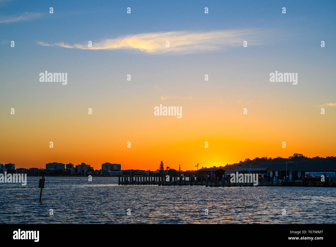 Sunset over the Swan River, Perth, Western Australia, seen from Riverside walk. Stock Photo