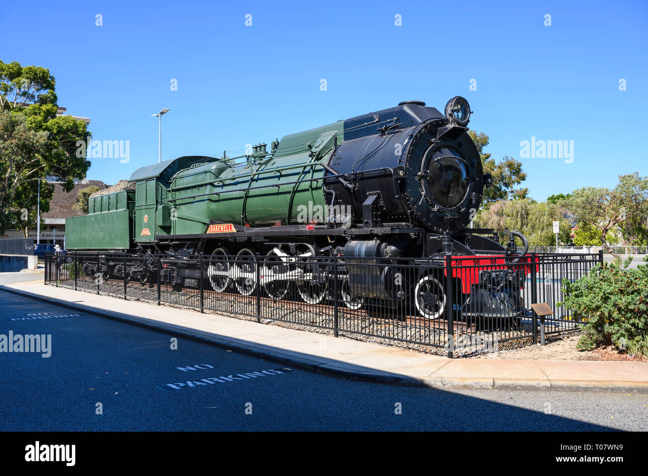 S542 Bakewell steam locomotive of WAGF S class is at East Perth Terminal, former site of the East Perth Locomotive Depot, Perth, Western Australia. Stock Photo