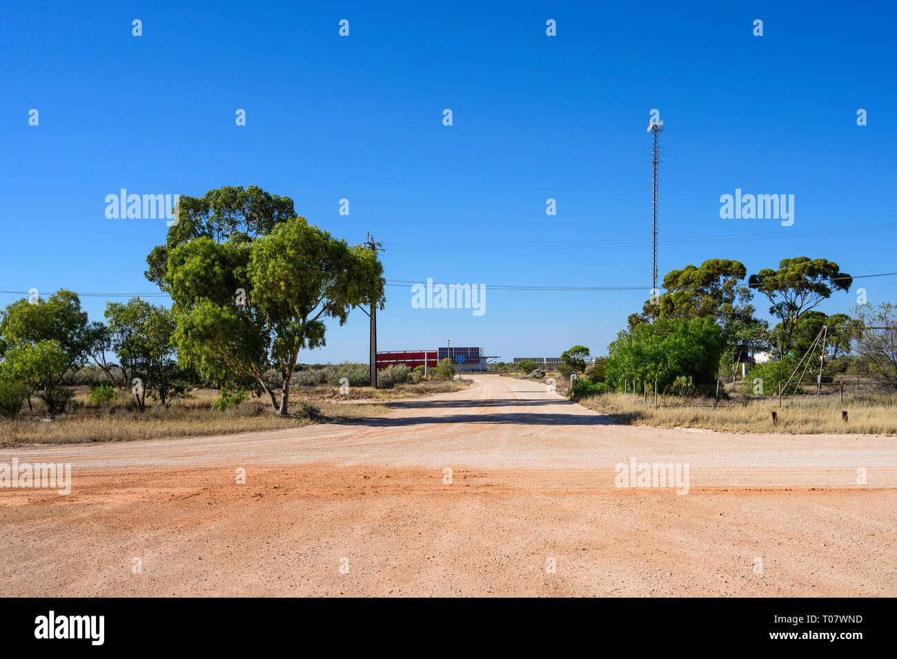 Airfield mast at the remote locality of Rawlinna, in the Nullarbor plain in Western Austrailia. Stock Photo