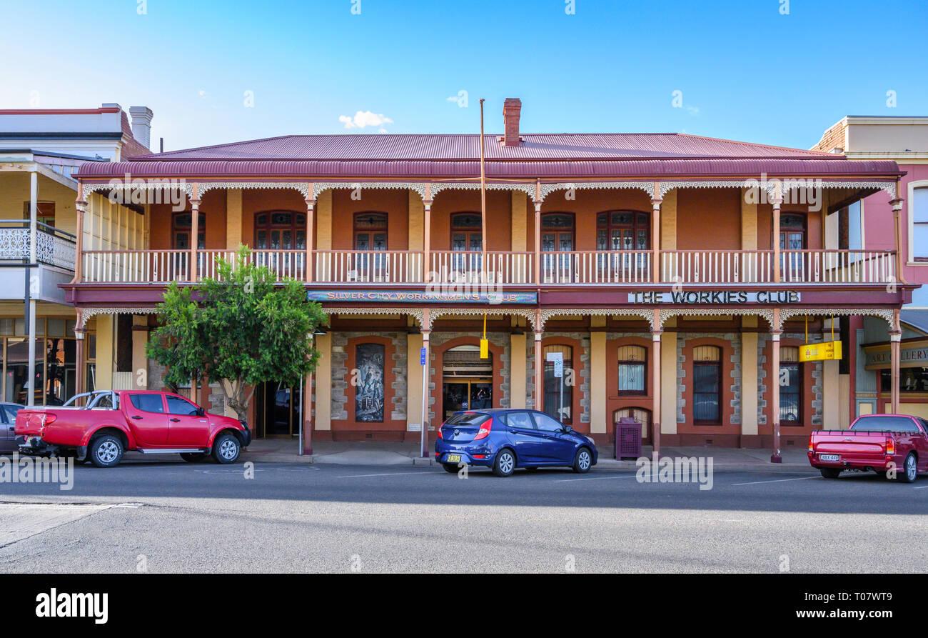 Silver City Workingman's Club, in Argent Street, Broken Hill, New South Wales, Australia. Stock Photo