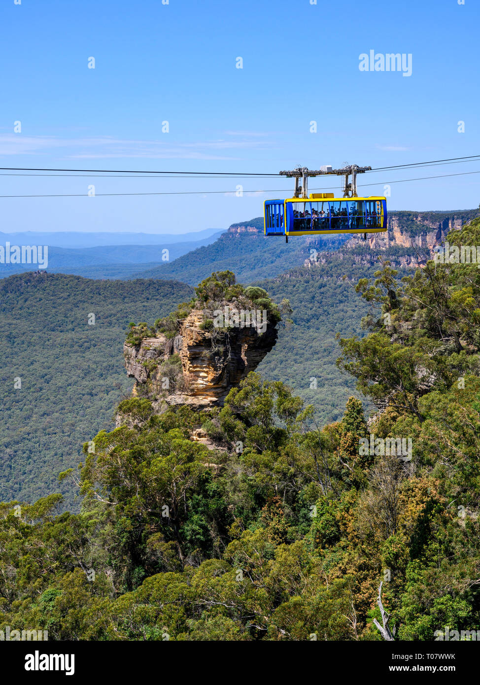 Scenic Skyway cable car at Scenic World tourist attraction, Katoomba, Blue Mountains National Park, New South Wales, Australia. Stock Photo