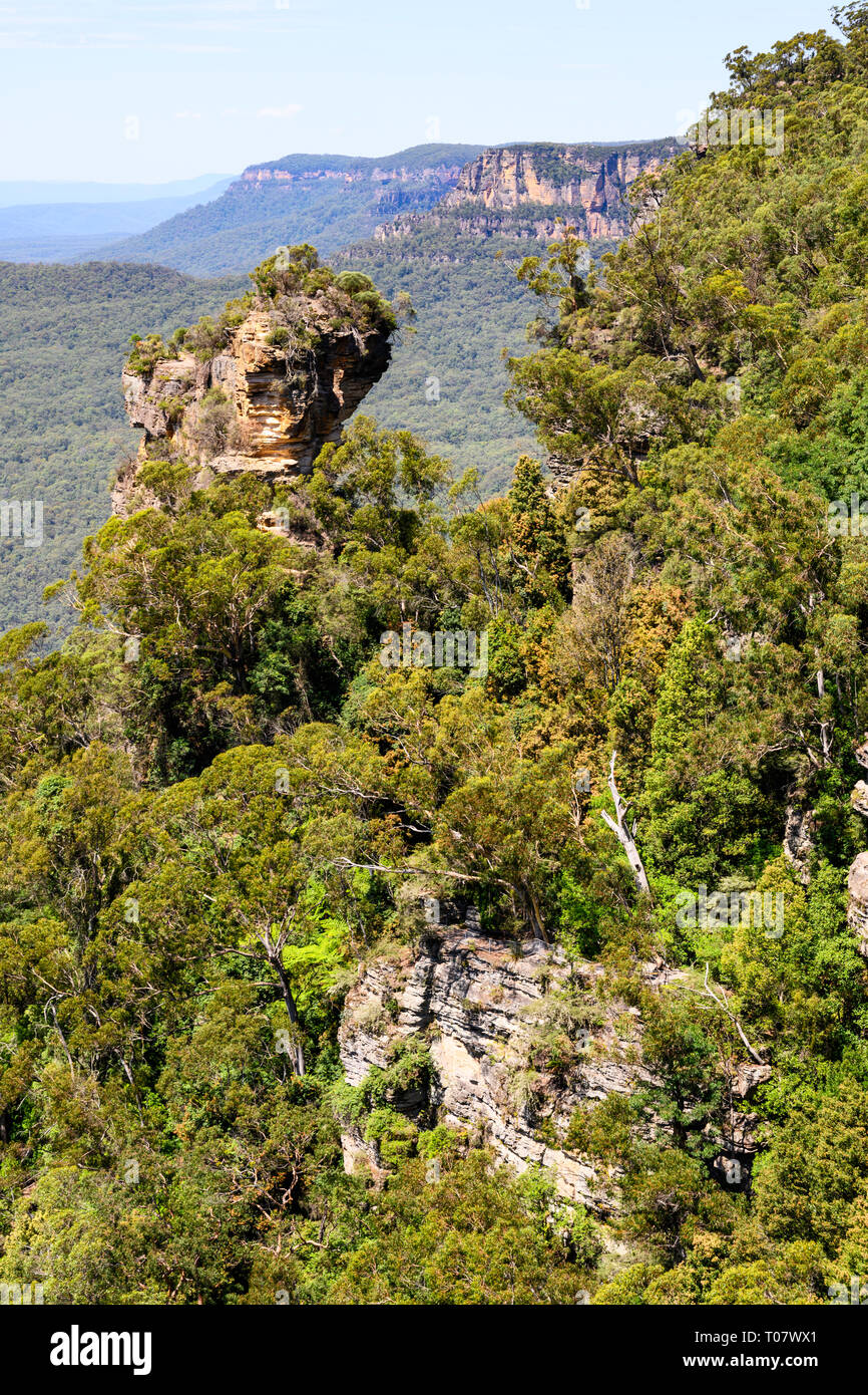 Rock formation seen from a lookout overlooking the Jamison Valley at Katoomba, Blue Mountains National Park, New South Wales, Australia. Stock Photo