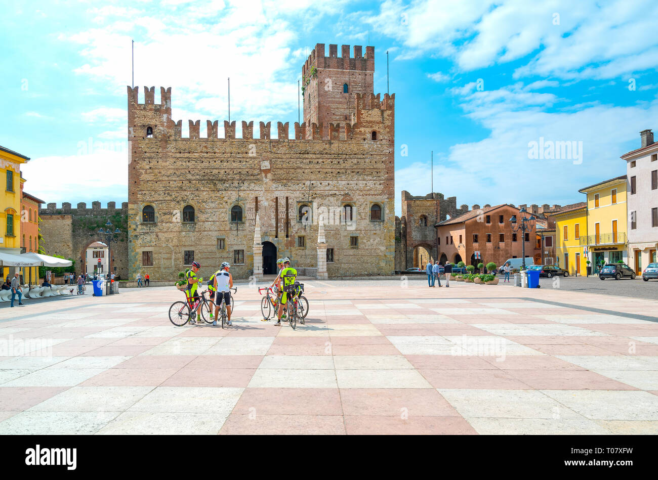 Italy, Marostica, The square where the traditional chess game is played with the Lower Castle in the background - Stock Image