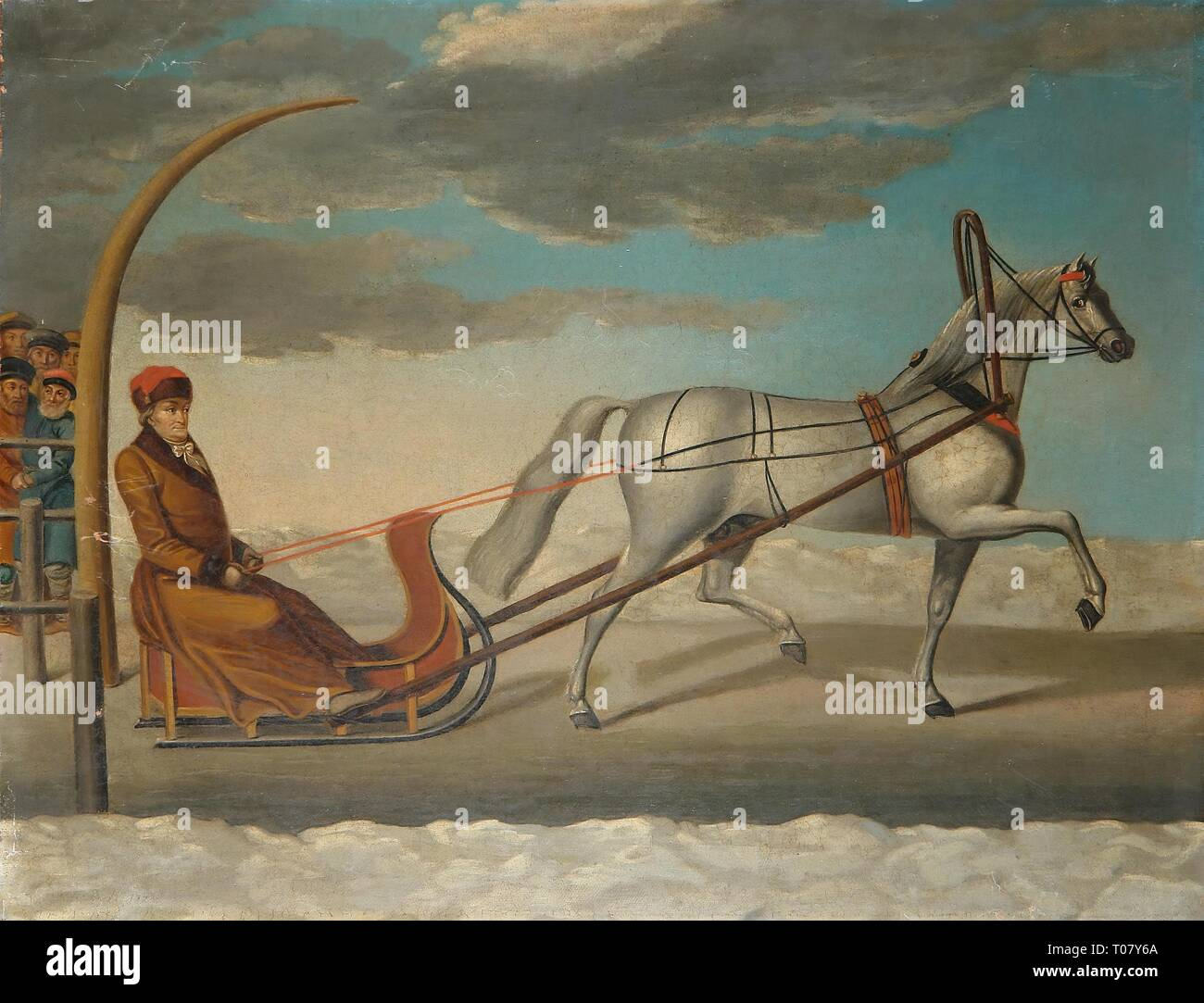'Count Alexey Orlov of Chesme in a Sledge Driven by a Grey Trotter'. Russia, 1778. Dimensions: 48x62,5 cm. Museum: State Hermitage, St. Petersburg. Author: late 18th-early 19th centuries Anonymous Artist . ANONYMOUS. Stock Photo