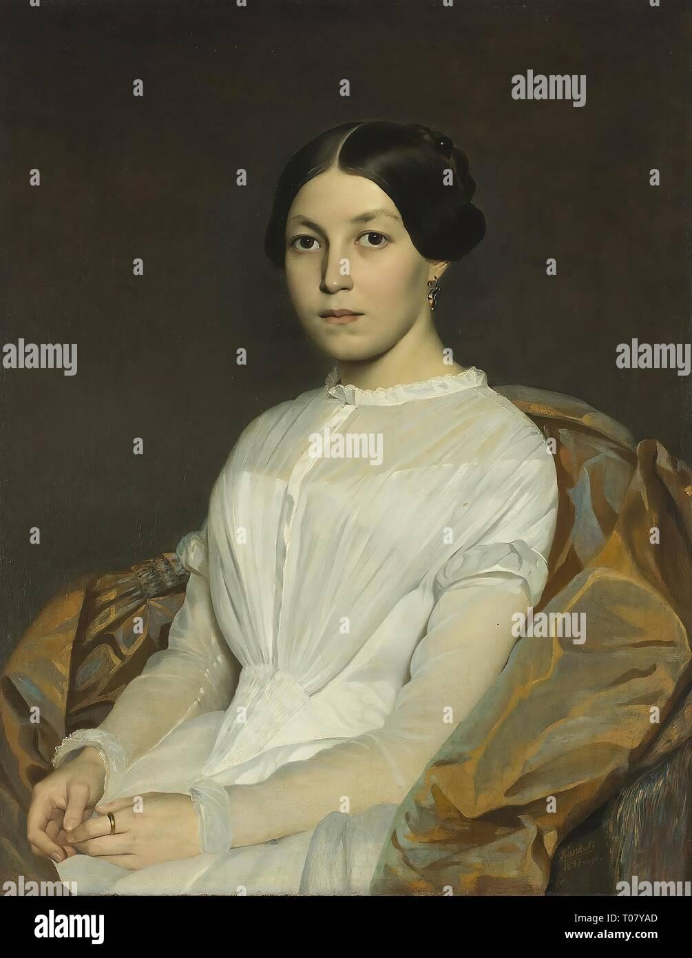 'Portrait of Alexandra Kutorga'. Russia, 1847. Dimensions: 80x62,5 cm. Museum: State Hermitage, St. Petersburg. Author: Yakov Kapkov. Stock Photo