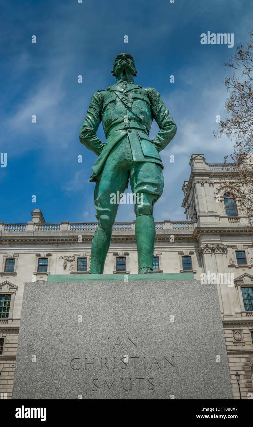 Statue, Jan Christian Smuts, Parliament Square, London, England, Grossbritannien - Stock Image