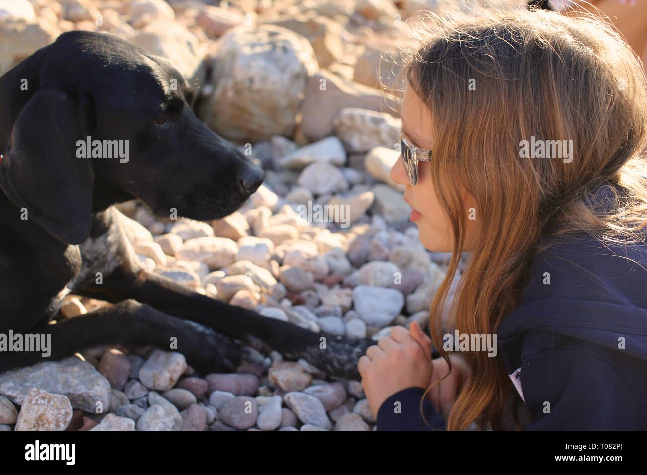 Young blonde girl lying on beach looking into the eyes of her pet dog with love - Stock Image