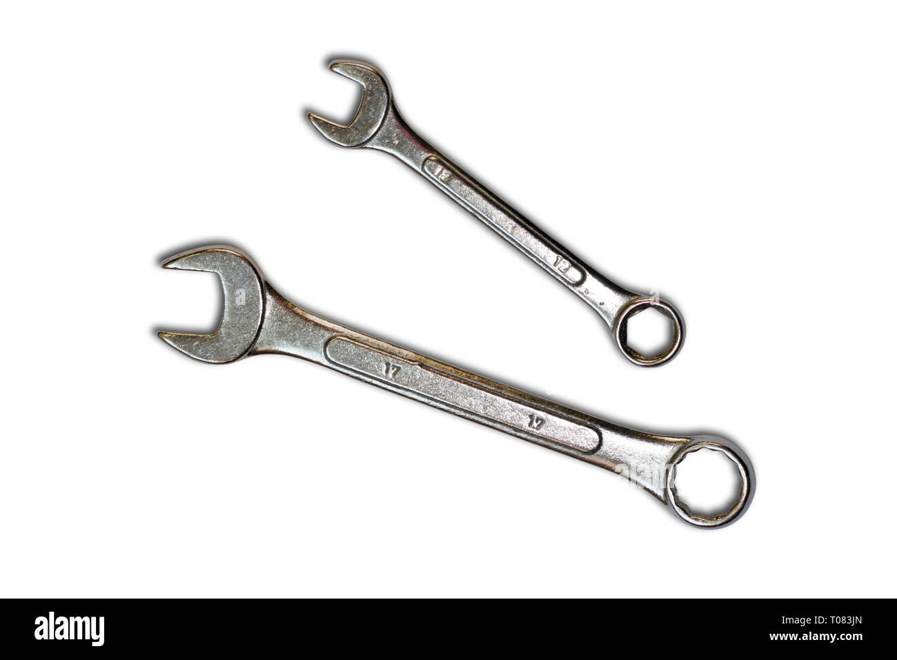 Two Wrenches isolated on a white backgound - Stock Image