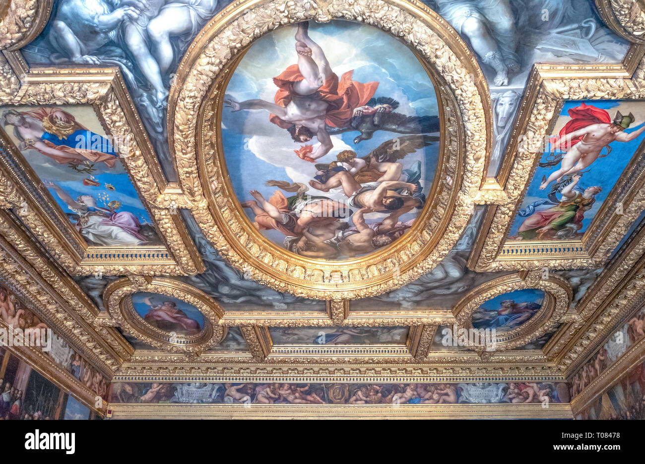 Italy, Venice, Ducal palace, detail of the ceiling of the Council of Tens Chamber - Stock Image