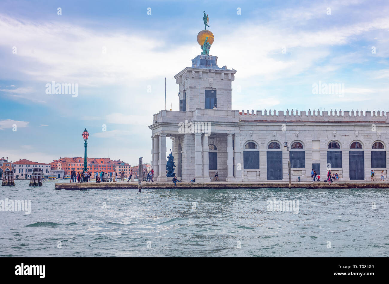 Italy, Venice, The Punta Della Dogana seen from the Creat Canal - Stock Image