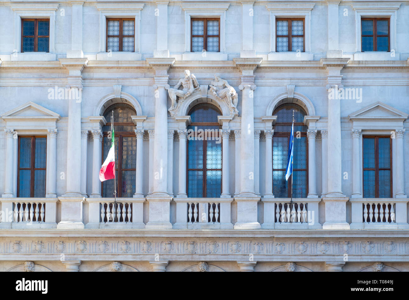 Italy, Bergamo, the facade of the Nuovo palace Stock Photo
