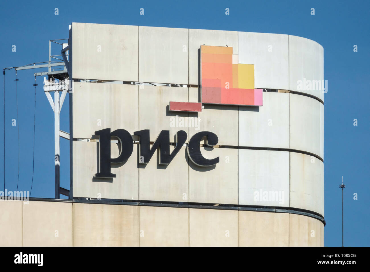 PWC logo, sign, Price Waterhouse Coopers, Valencia Spain - Stock Image