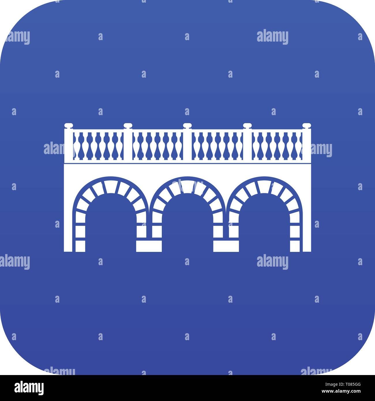 Arch bridge icon blue vector - Stock Image