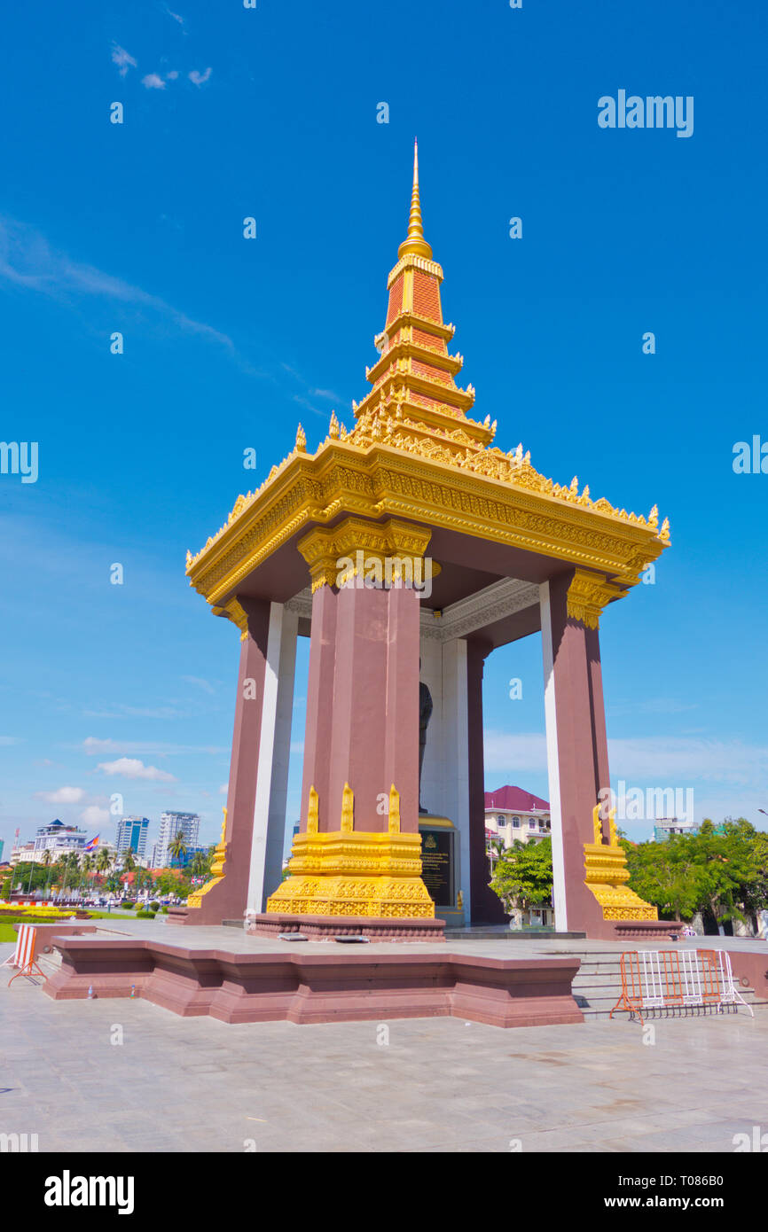 Statue of King Father Norodom Sihanouk, Neak Banh Teuk Park, Phnom Penh, Cambodia, Asia Stock Photo