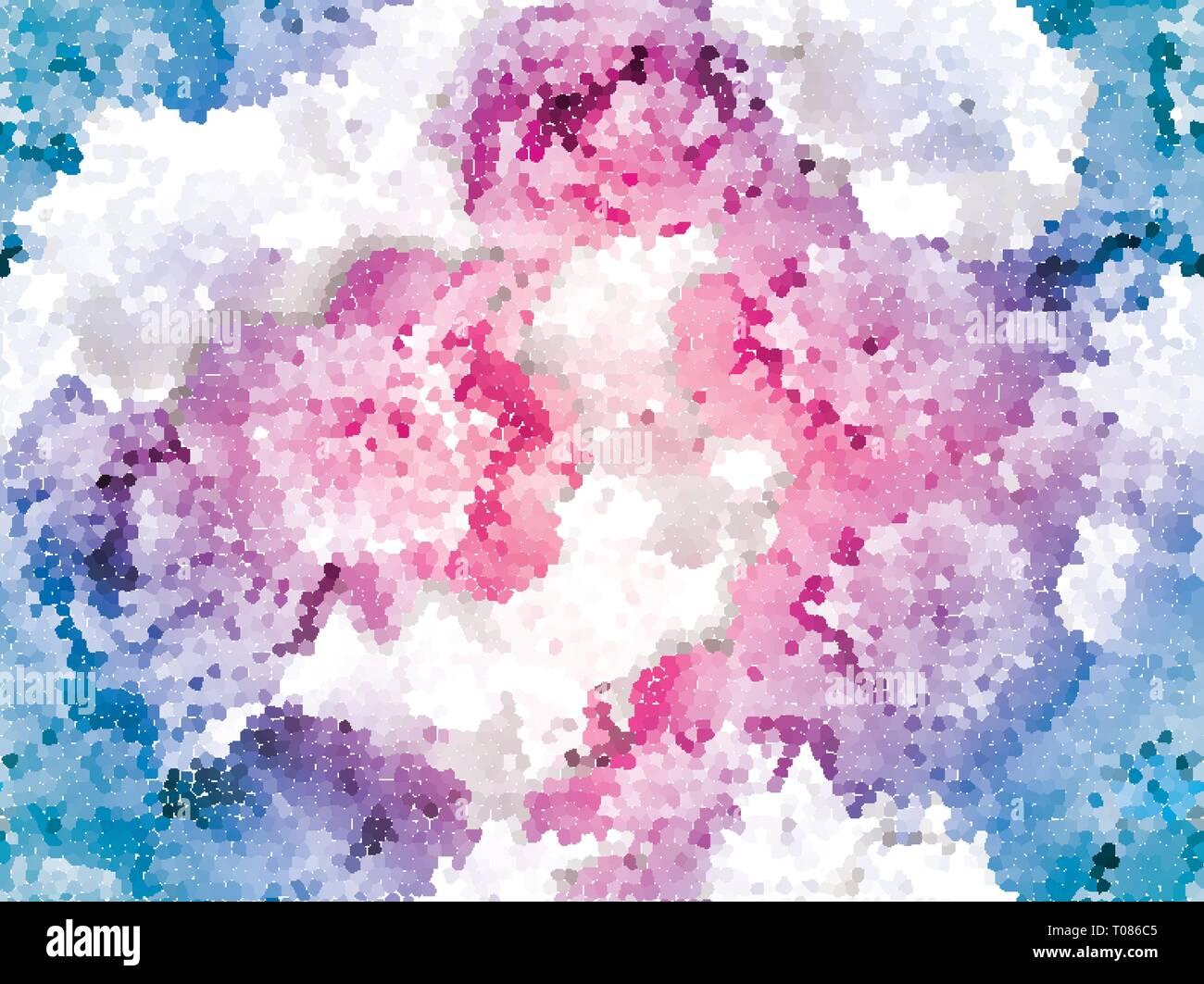 Seamless peony mosaic. Pink blue flower pattern - Stock Image