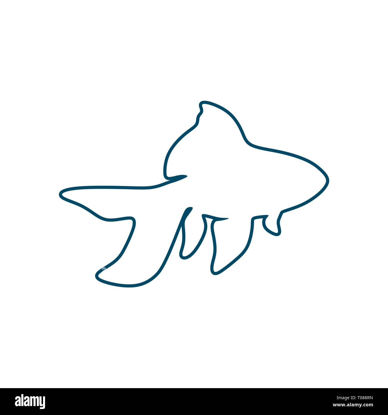 Sea life line icon - Stock Image