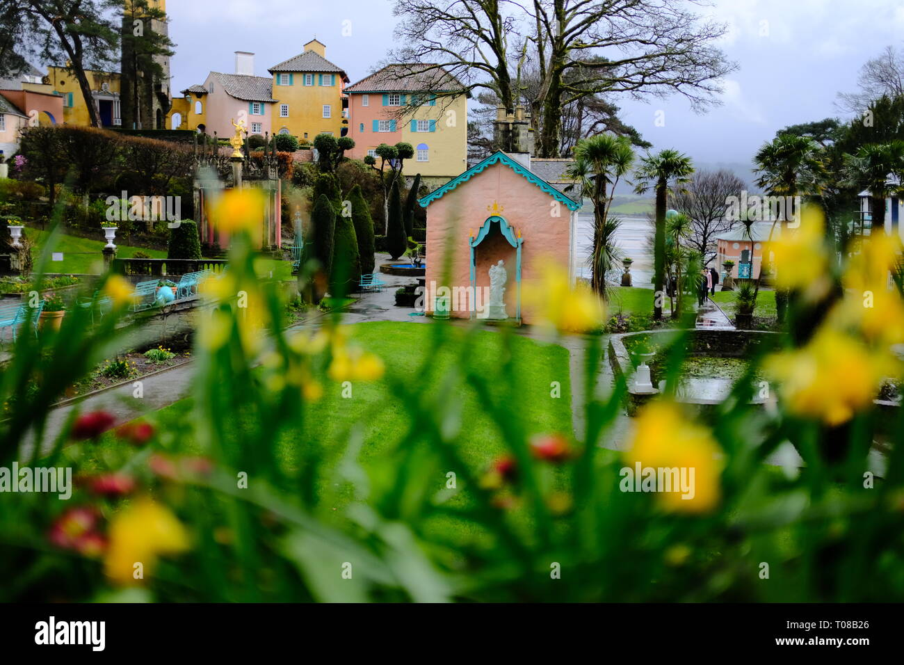 the Italian style central piazza of Portmeirion village Stock Photo