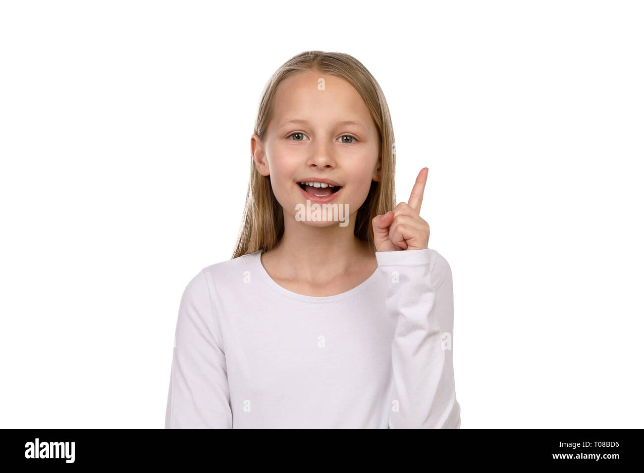 Pretty blond girl wants to say something - Stock Image