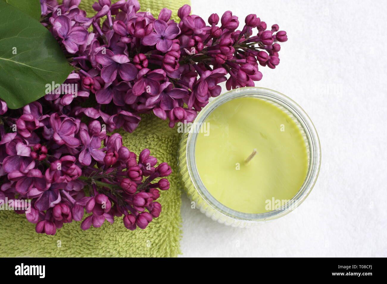 Purple syringa flowers with candles Stock Photo