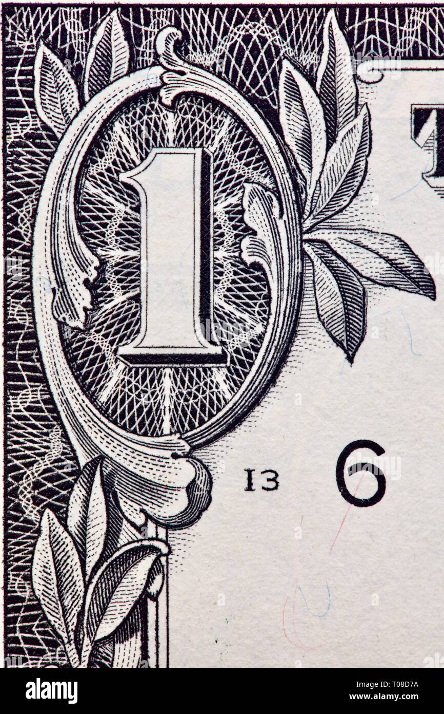 Macro shot showing the fine detail on the one dollar bill - Stock Image