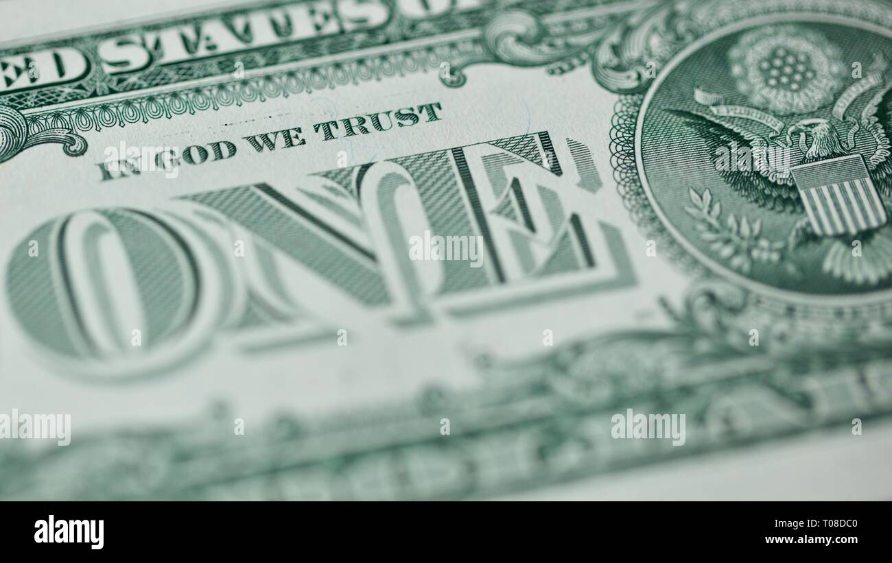 """IN GOD WE TRUST"" on the reverse of a United States one-dollar bill Stock Photo"