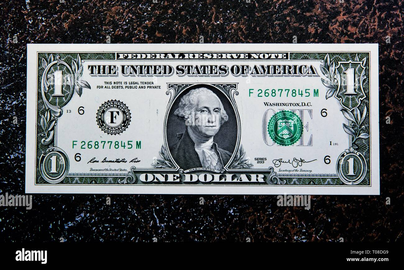 United States one-dollar bill - Stock Image