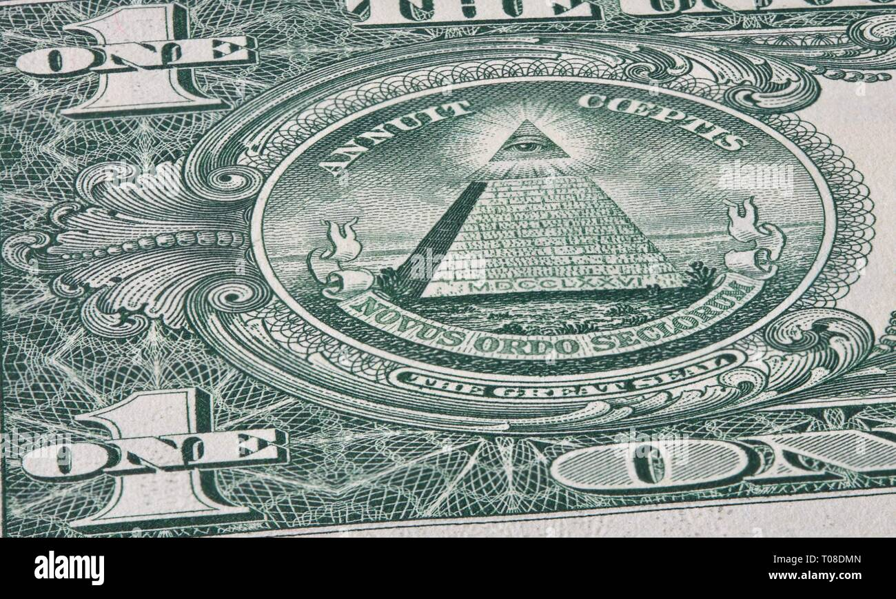 Eye of Providence on the reverse side of the United States one-dollar bill - Stock Image